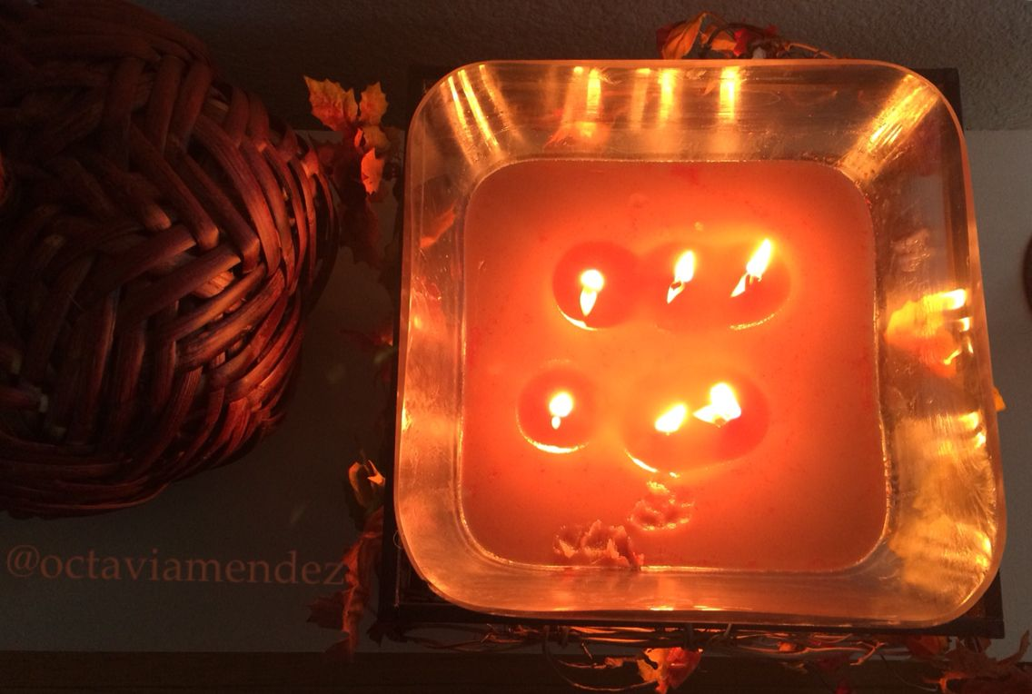 My DIY crisco candle. It came out awesome for my first time ❤️ #diy #candle #fall #leaves #glass #wood #pumpkin #woodenpumpkin 9/20/15