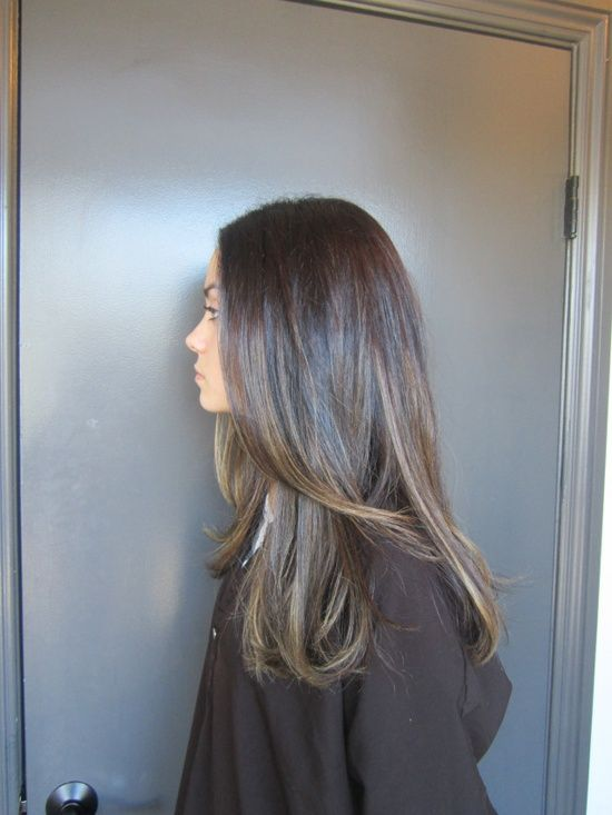 Delicate Brunette Highlights Cut Color Hair And Beauty