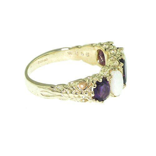 Luxury Ladies Victorian Style Solid Hallmarked Yellow 10K Gold Amethyst & Opal Band Ring – Size 11.5 – Finger Sizes 5 to 12 Available – Ideal gift for for Christmas, Birthday, Valentines or Mothers Day http://www.easterdepot.com/luxury-ladies-victorian-style-solid-hallmarked-yellow-10k-gold-amethyst-opal-band-ring-size-11-5-finger-sizes-5-to-12-available-ideal-gift-for-for-christmas-birthday-valentines-or-mother/ #easter  This is a most beautiful set of Vibrant Purple Amethysts and C..