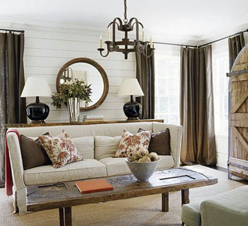 Belgian Style Family Room Love The Doors, And Warm Brown Color Of The  Curtains.