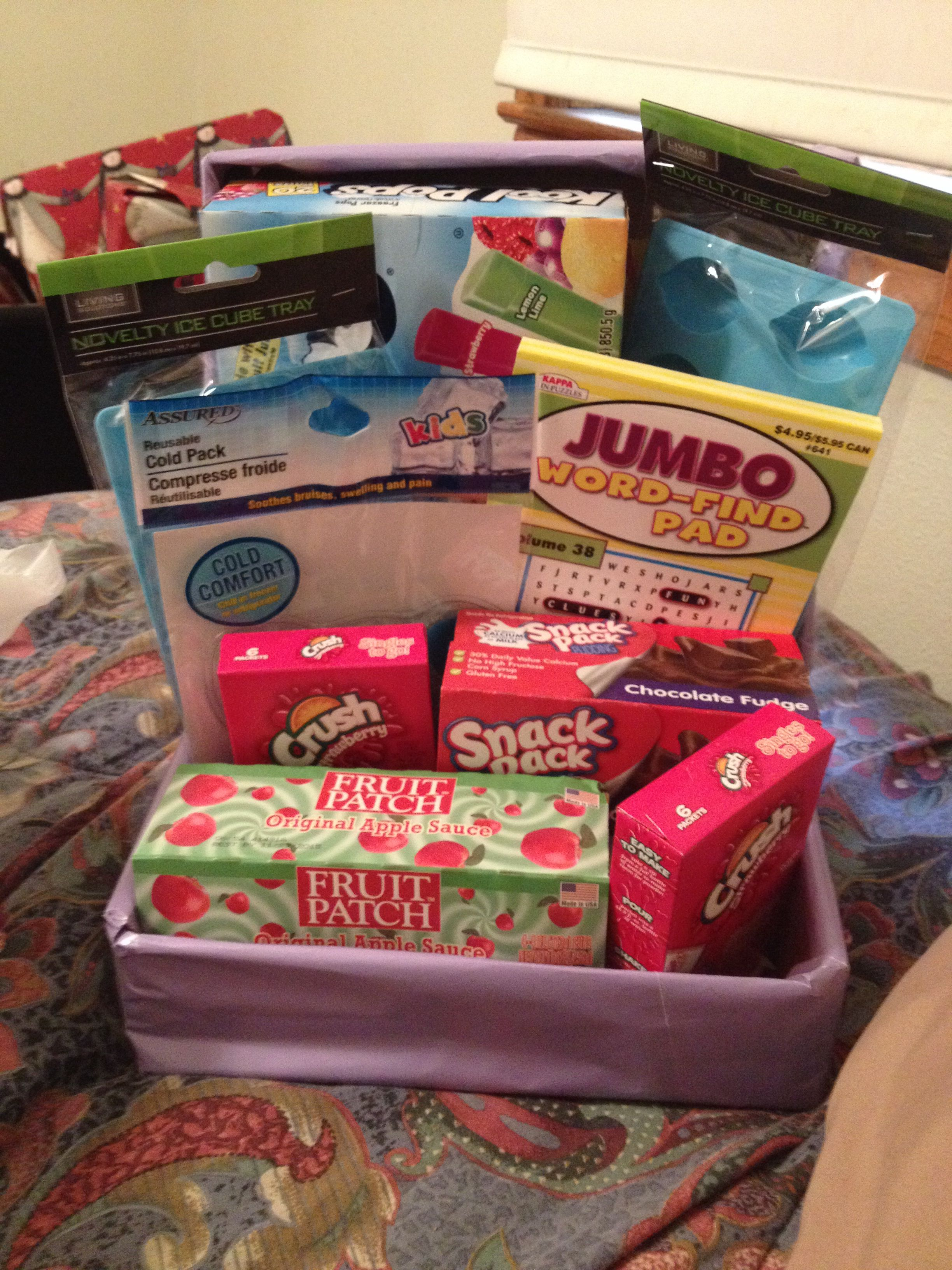 Tonsil Surgery Care Package Included Applesauce Chocolate Pudding Popsicles An Icepack Word Search Kids Gift Baskets Kids Care Package Get Well Baskets