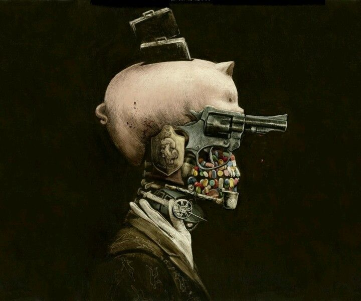 Law enforcement Skull | Surrealism painting, Surreal art, Steampunk art