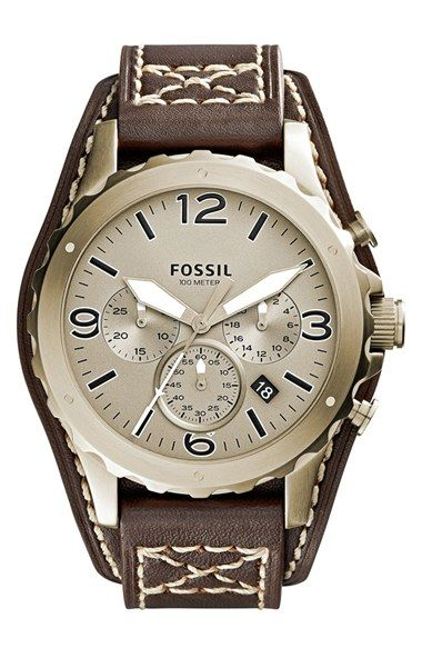 Fossil 'Nate' Chronograph Leather Strap Watch, 46mm