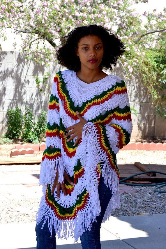 White Virus Rasta Poncho/Rasta Poncho/ Crochet White Rasta Poncho ...