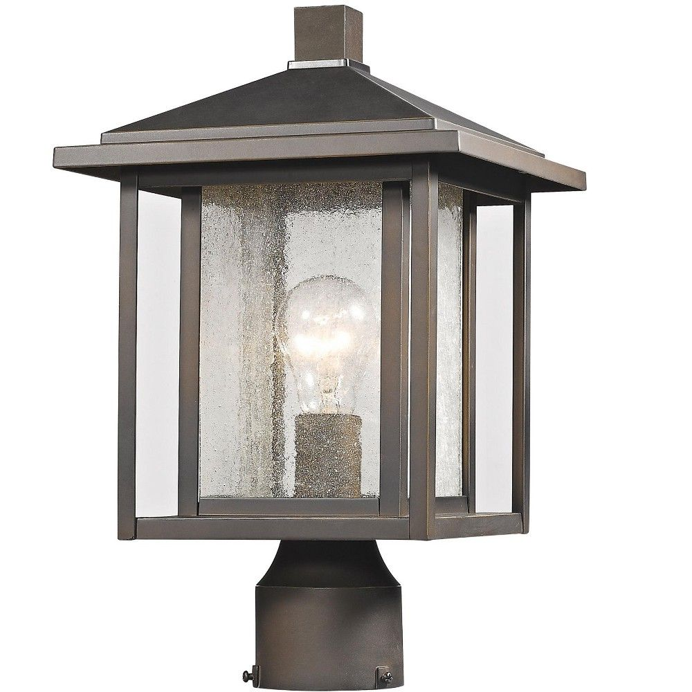 Z Lite 554phm Aspen Single Light 15 Tall Outdoor Post Light With Seedy Glass Shade Oil Rubbed Bronze Outdoor Post Lights Post Lights Post Lighting