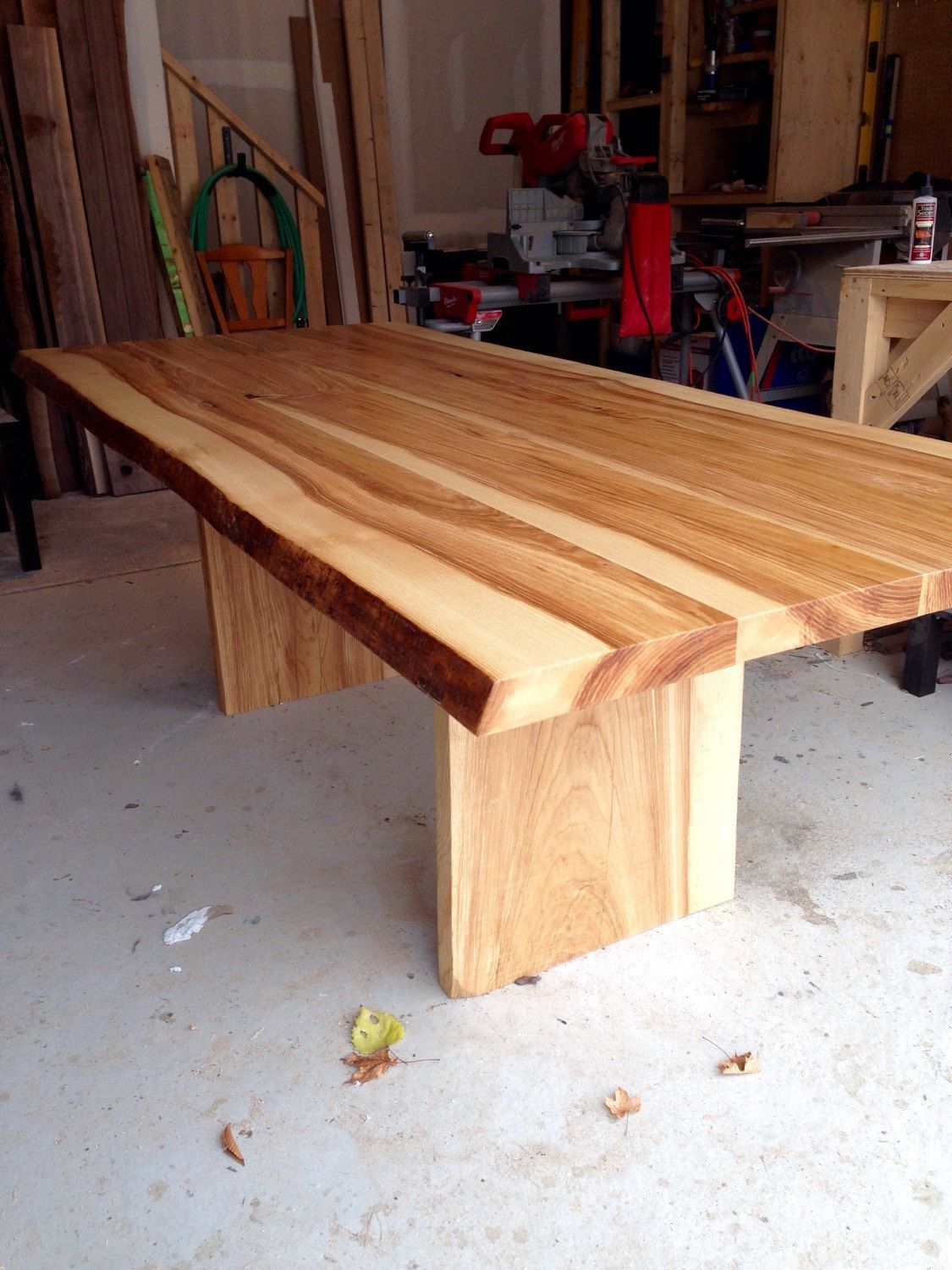 Reclaimed kitchen table  Live Edge Ash dining table  Live edge designs by Plank To Table
