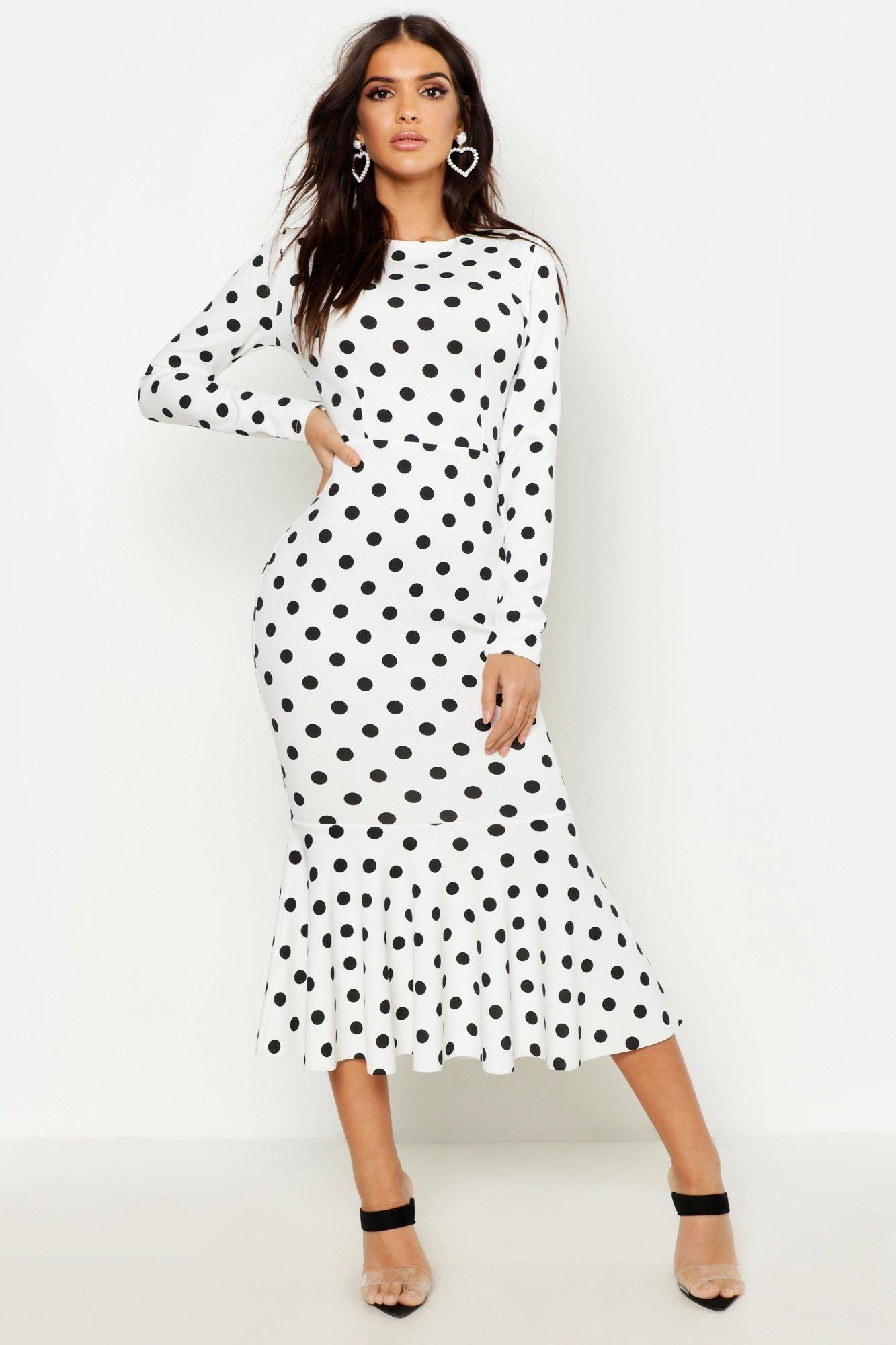 Polka Dot Fishtail Long Sleeved Midaxi Dress Polka Dot Skirt Outfit Dot Dress Outfit Dot Skirt Outfit [ 2000 x 1333 Pixel ]