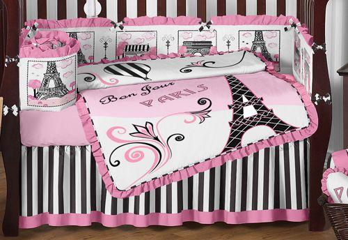 sweet jojo designs pink black paris france high end girl crib baby bedding set baby crib. Black Bedroom Furniture Sets. Home Design Ideas