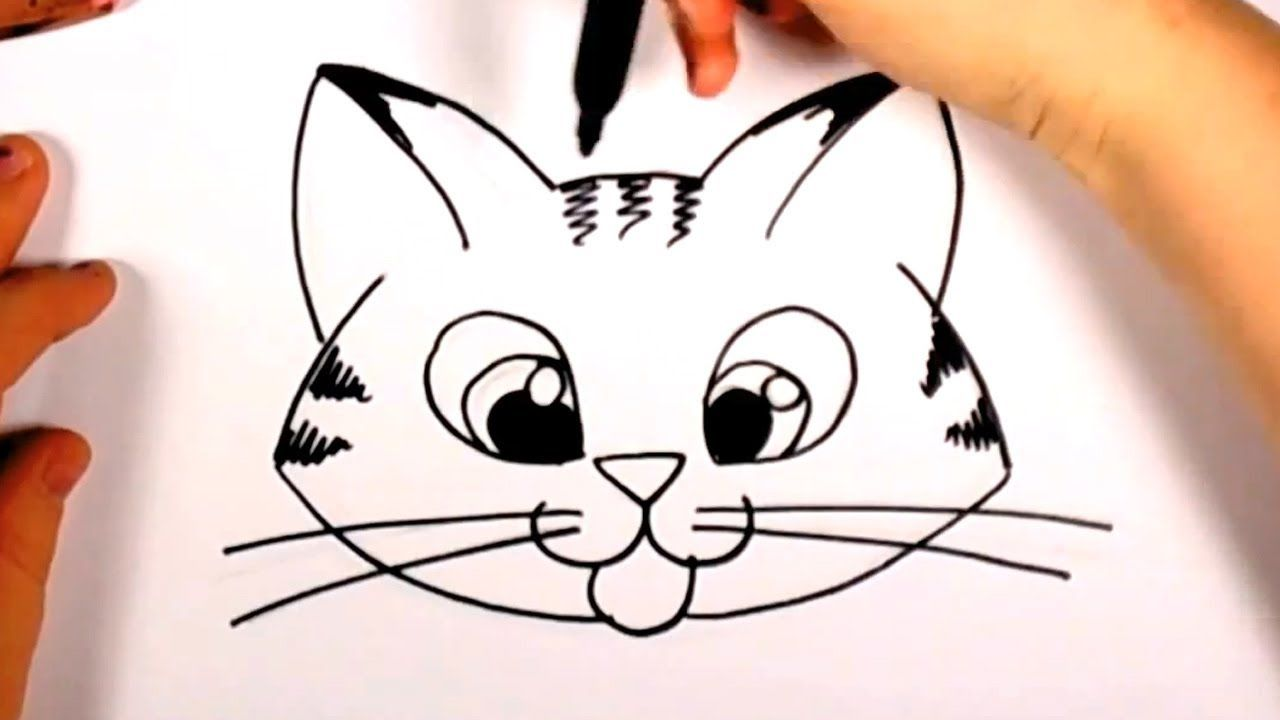 How To Draw A Cute Kitten Face Tabby Cat Face Drawing Cc With
