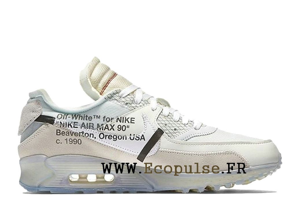 b79309b51591f Nouveau 2018 Off-White X Nike Air Max 90 Prix Chaussure de BasketBall Pas  Cher