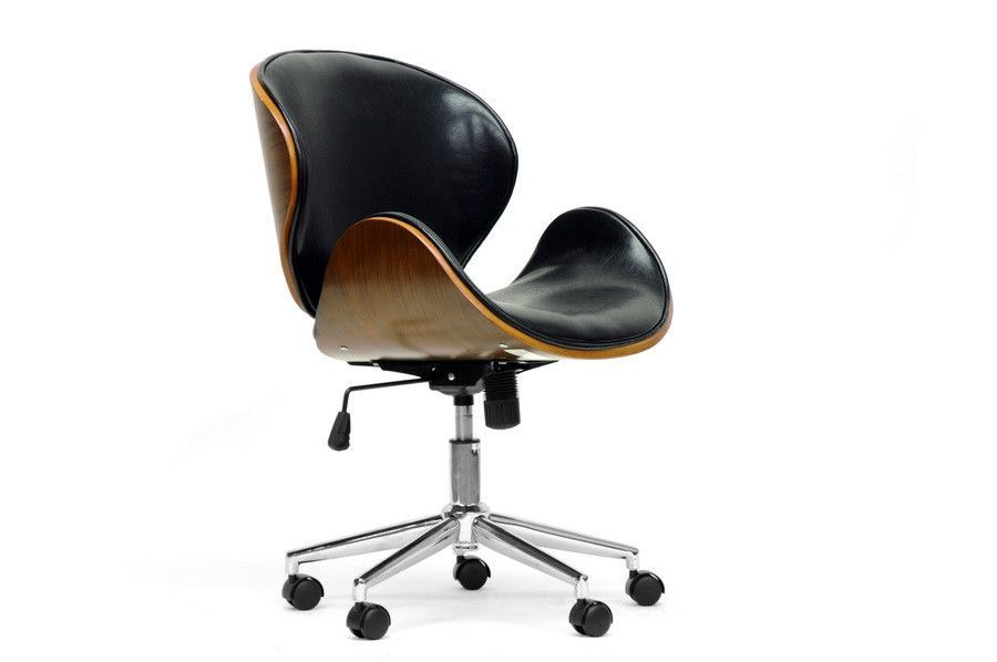 baxton studio bruce walnut and black modern office chair products