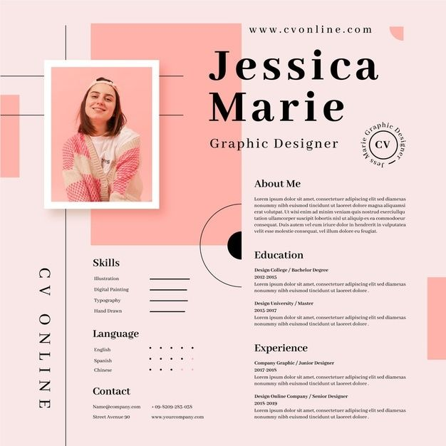 Online cv template with photo | Free Vector #Freepik #freevector #business #template #resume #c ...