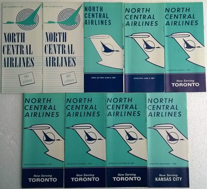 North Central Airlines timetables 1967 complete year トラベル