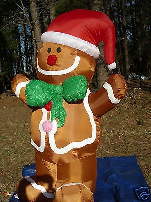 New Gemmy 7 Lighted Gingerbread Man Christmas Inflatable Airblown Blow Up Christmas