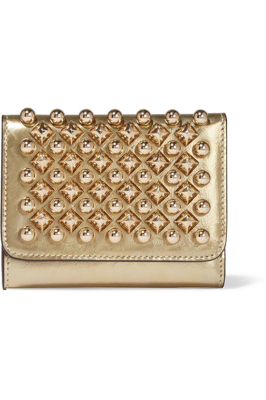 5feb34623e6 Christian Louboutin | Macaron mini metallic studded leather wallet ...