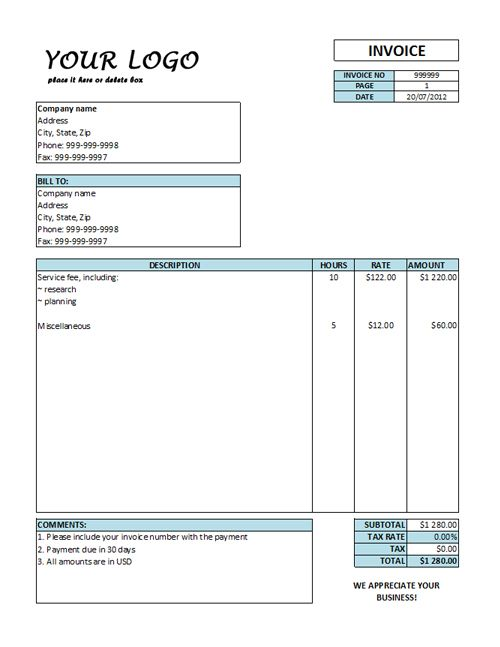 Hourly Invoice Template Rate Templates Free