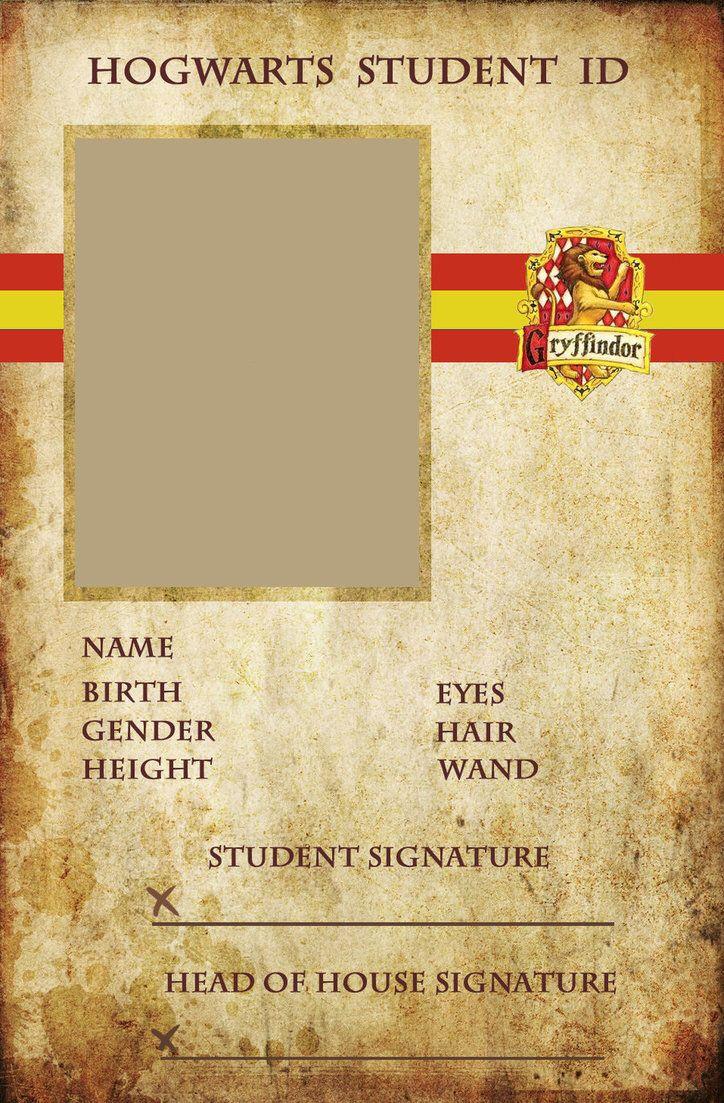Hogwarts Student Id Gryffindor Harry Potter Printables Harry Potter Diy Harry Potter Crafts