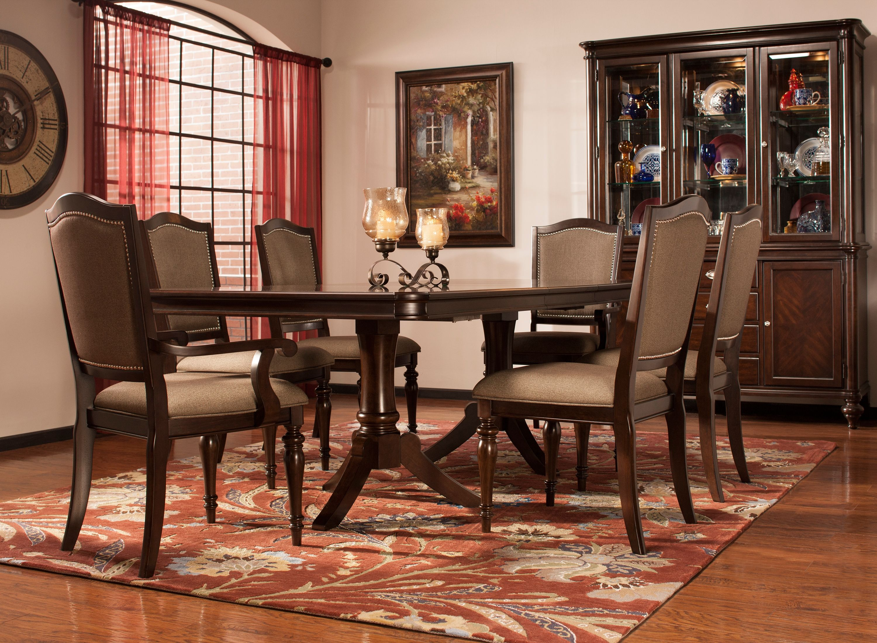 refined yet relaxing the bay city 7 piece dining set delivers elegance that s fit for a formal gathering