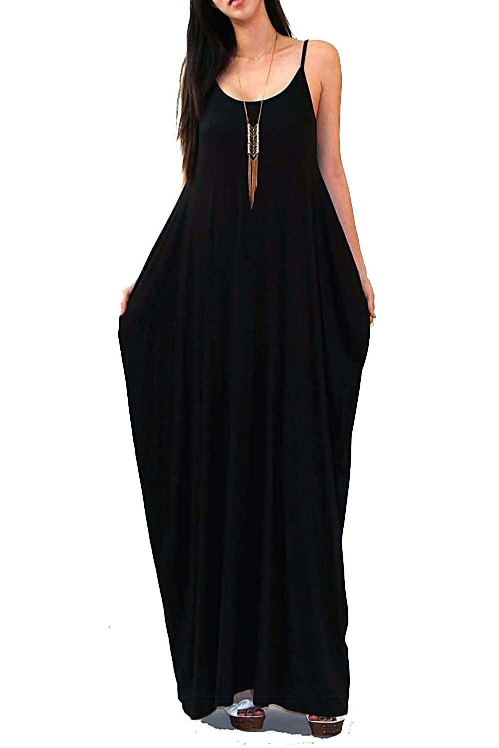 452af9a226 Women's Clothing, Dresses, Casual, Batwing Oversized Loose Plain Summer  Sleeveless Pocket Long Maxi Dress - Black - CY12F1JDITV #fashion #style # clothes ...