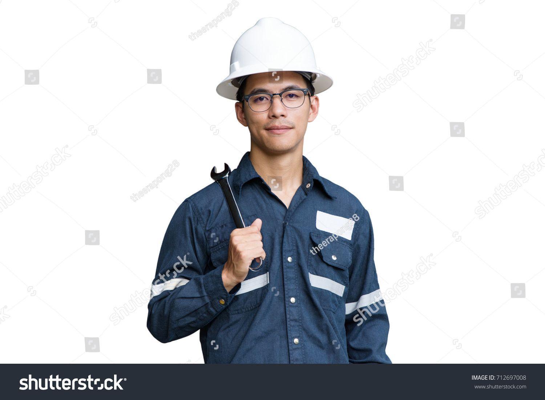 Asian man,Engineer or Technician in white helmet, glasses