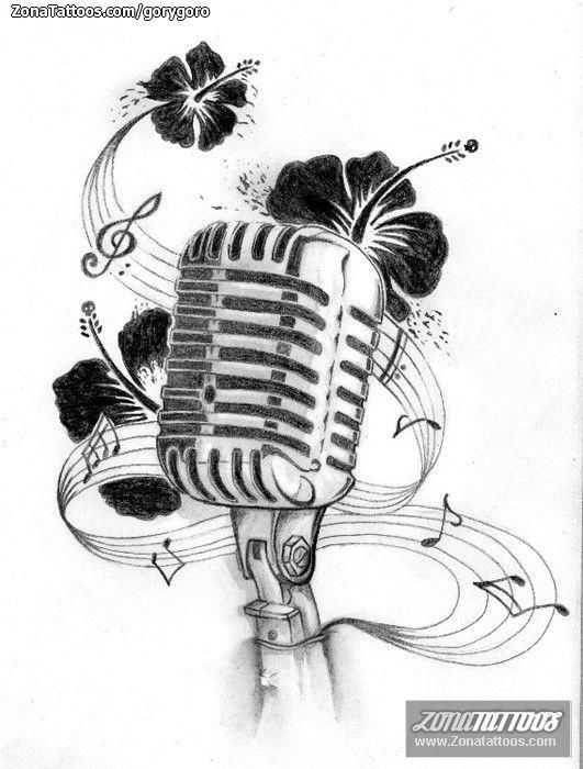 Diseno De Microfonos Flores Partituras Zonatattoos Com Disenos De Tatuaje De Musica Dibujos Musicales Tatuajes Dedicados A Abuelos