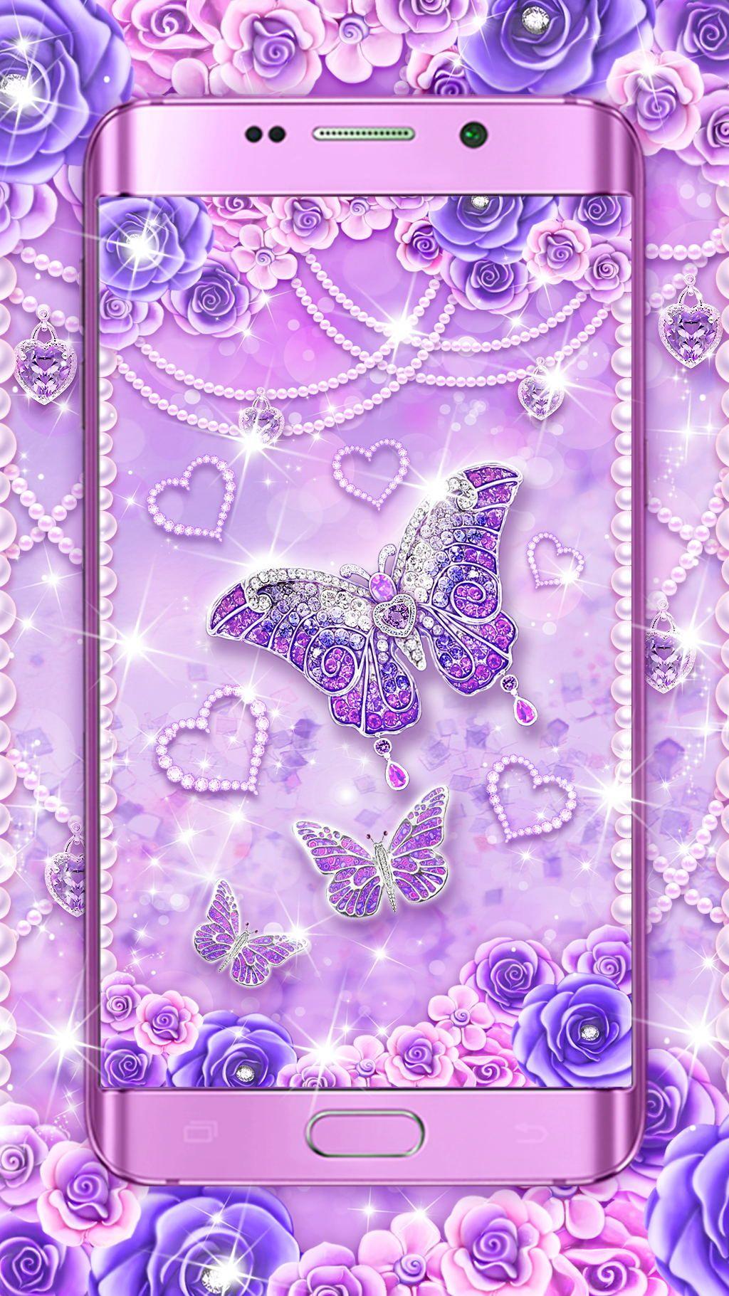 Purple diamond butterfly live wallpaper! Live wallpapers