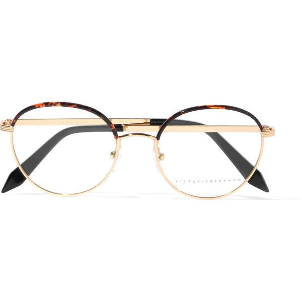 29aeb8efae Victoria Beckham Windsor round-frame acetate and gold-tone optical ...