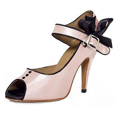 Cetim sapatos de dança personalizado da mulher com curva por Sandals Latina / salão de baile – BRL R$ 152,47