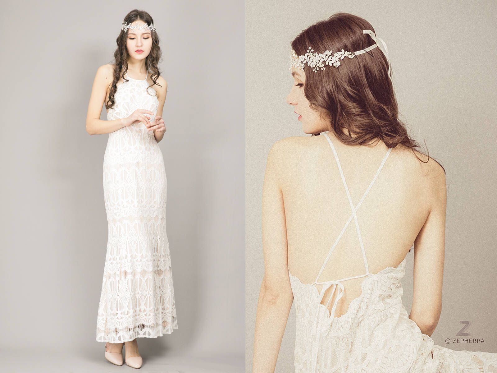 Bohemian wedding dress boho wedding dress nude wedding dress