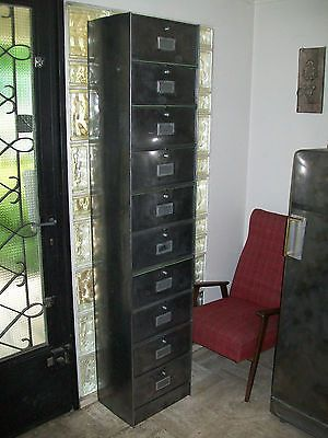 grand meuble armoire colonne roneo 10 clapet metal bross design industriel 60 ebay design. Black Bedroom Furniture Sets. Home Design Ideas