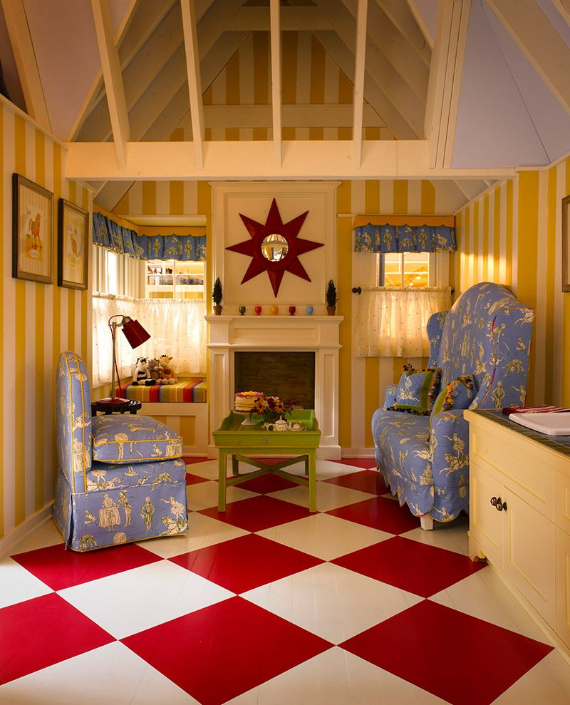 Playhouse cafe curtains checkerboard floor and striped walls cute outdoor also best cubby house images garden tool storage inside rh pinterest