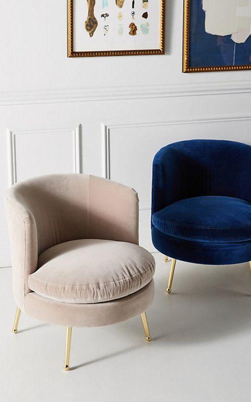 Hone Cynthia Petite Accent Chair Navy This Modern Navy Velvet