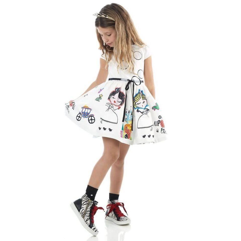 소녀 여름 드레스 아이 옷 2016 브랜드 아기 소녀 드레스 띠 로브 Fille 문자 공주 드레스 어린이 의류