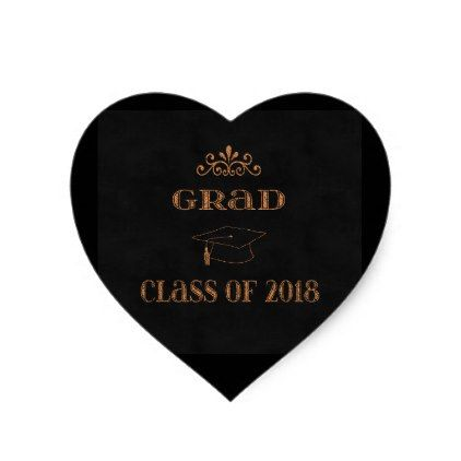 Caulk broad style design class of 2018 graduation heart sticker