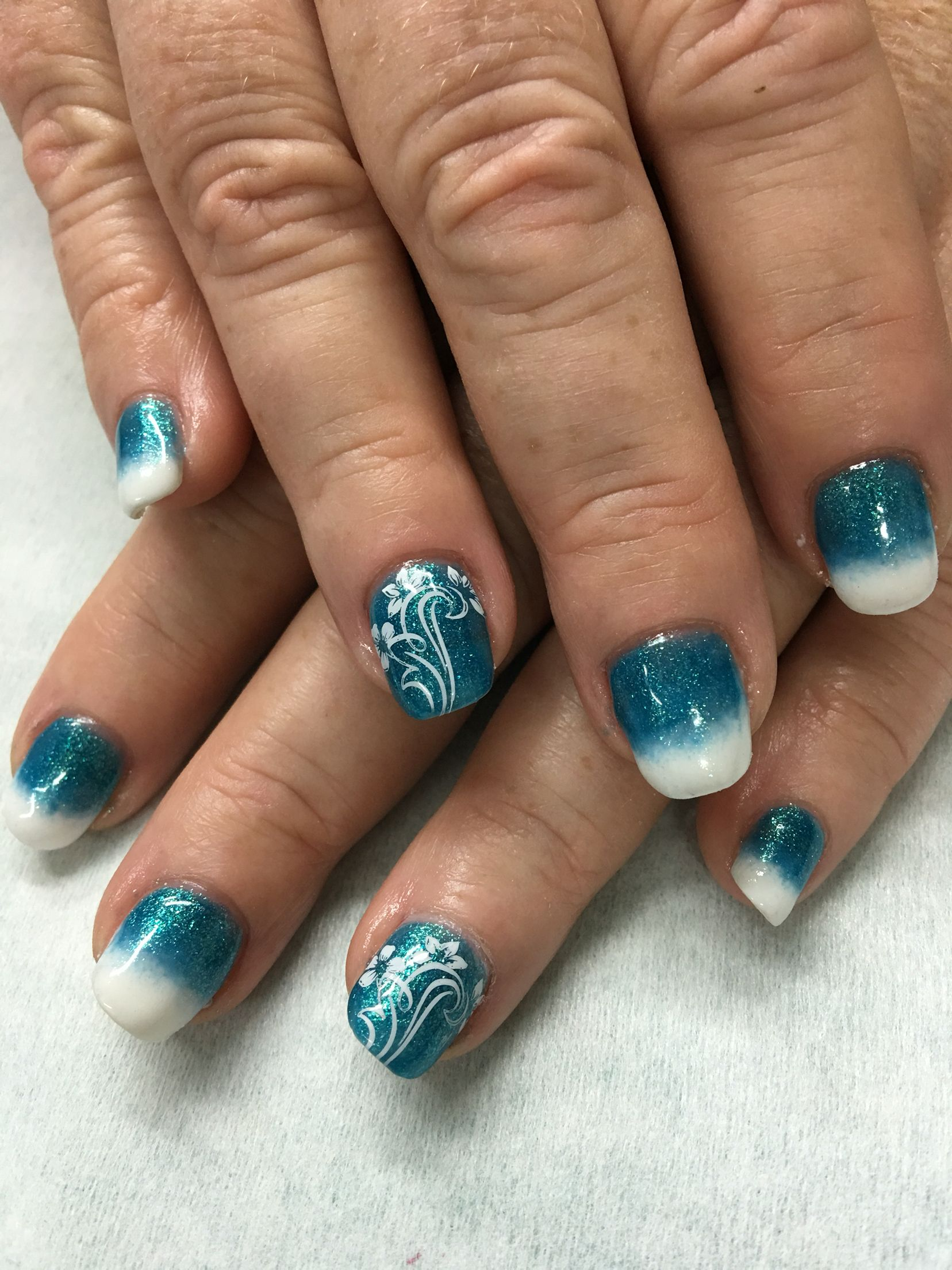 Aqua Mermaid Turquoise And White Ombré Summer stamped gel nails ...
