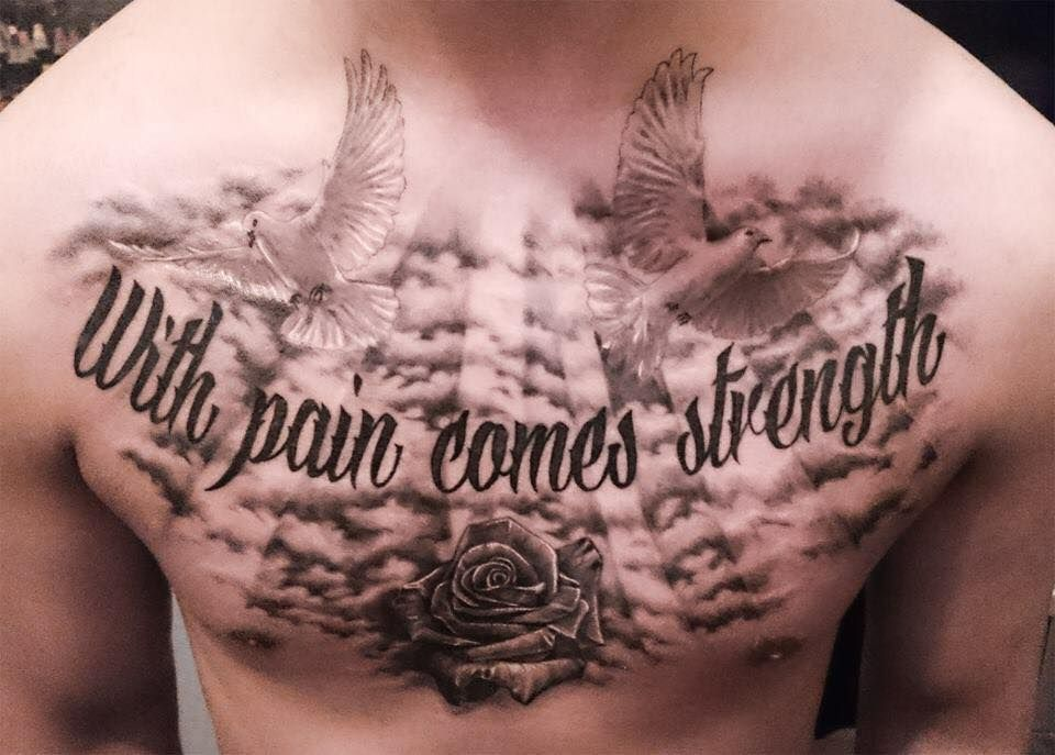 With pain comes strenght realism tattoo test on chest for With pain comes strength tattoo
