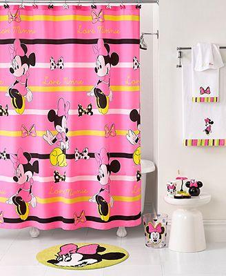 Disney Bath Accessories Neon Minnie Shower Curtain