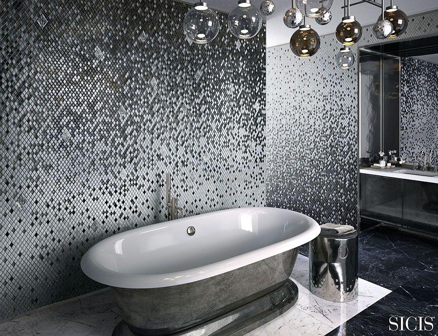 Sicis Ekskluzywna łazienka Srebrna Mozaika Wolnostojąca