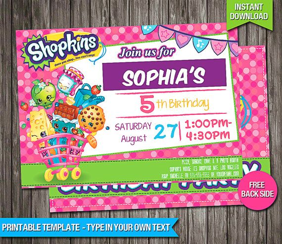 SALE - 80 OFF Shopkins Birthday Invitation - INSTANT Download - birthday invitation card template free download