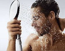 Man with Hansgrohe handshower