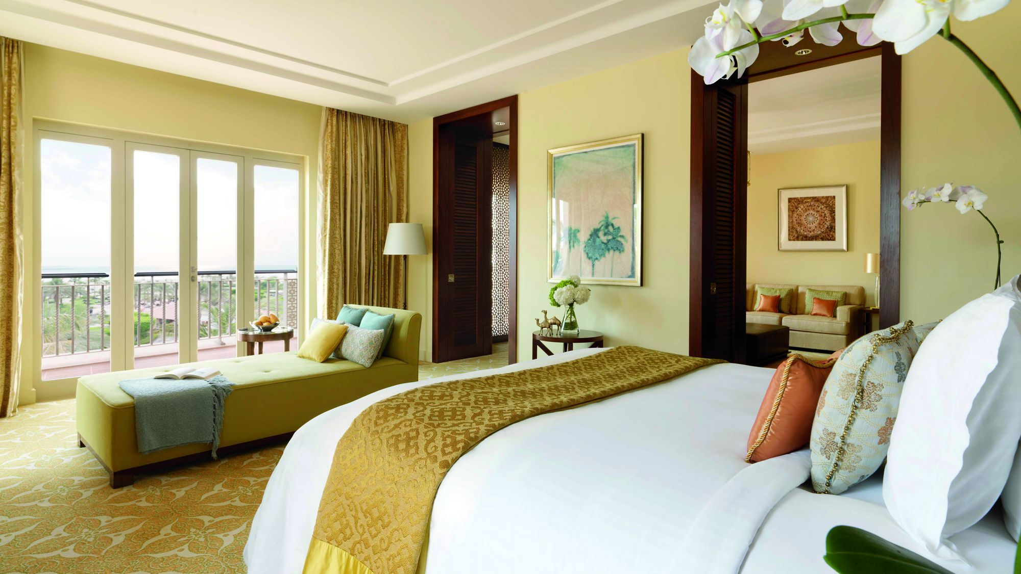 Project: Ritz Carlton, Dubai    Executive Suite bedroom with a private balcony