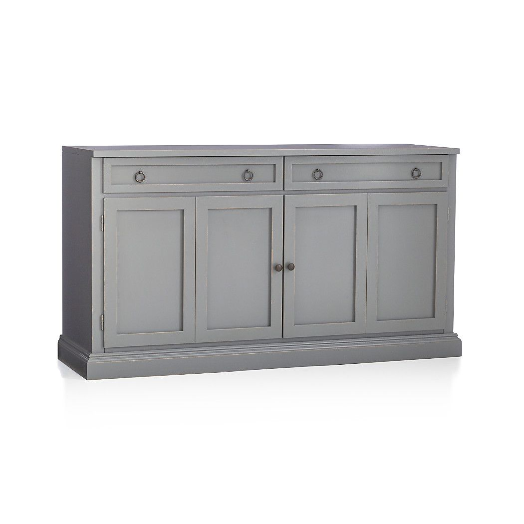 Shop cameo 62 grey modular media console the modular media stand with double bi fold doors and two storage drawers stands alone or supports the