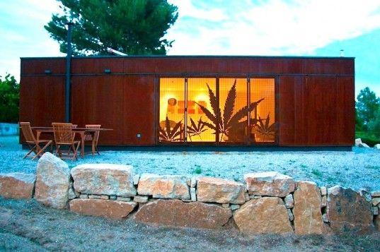 Prefab Infiniski Menta House Features Steel Shutters Shaped Like Mint Leaves in Spain
