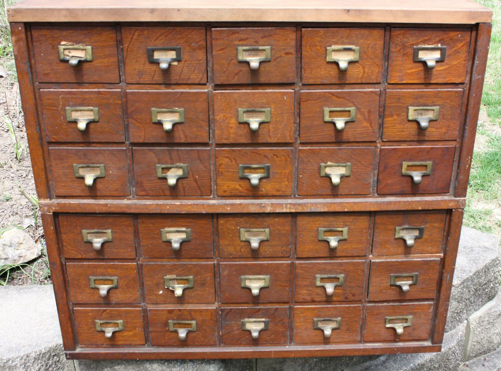 Attrayant 2 Antique 15 Drawer Stacking Oak Library Index Card File Cabinets 30 Total