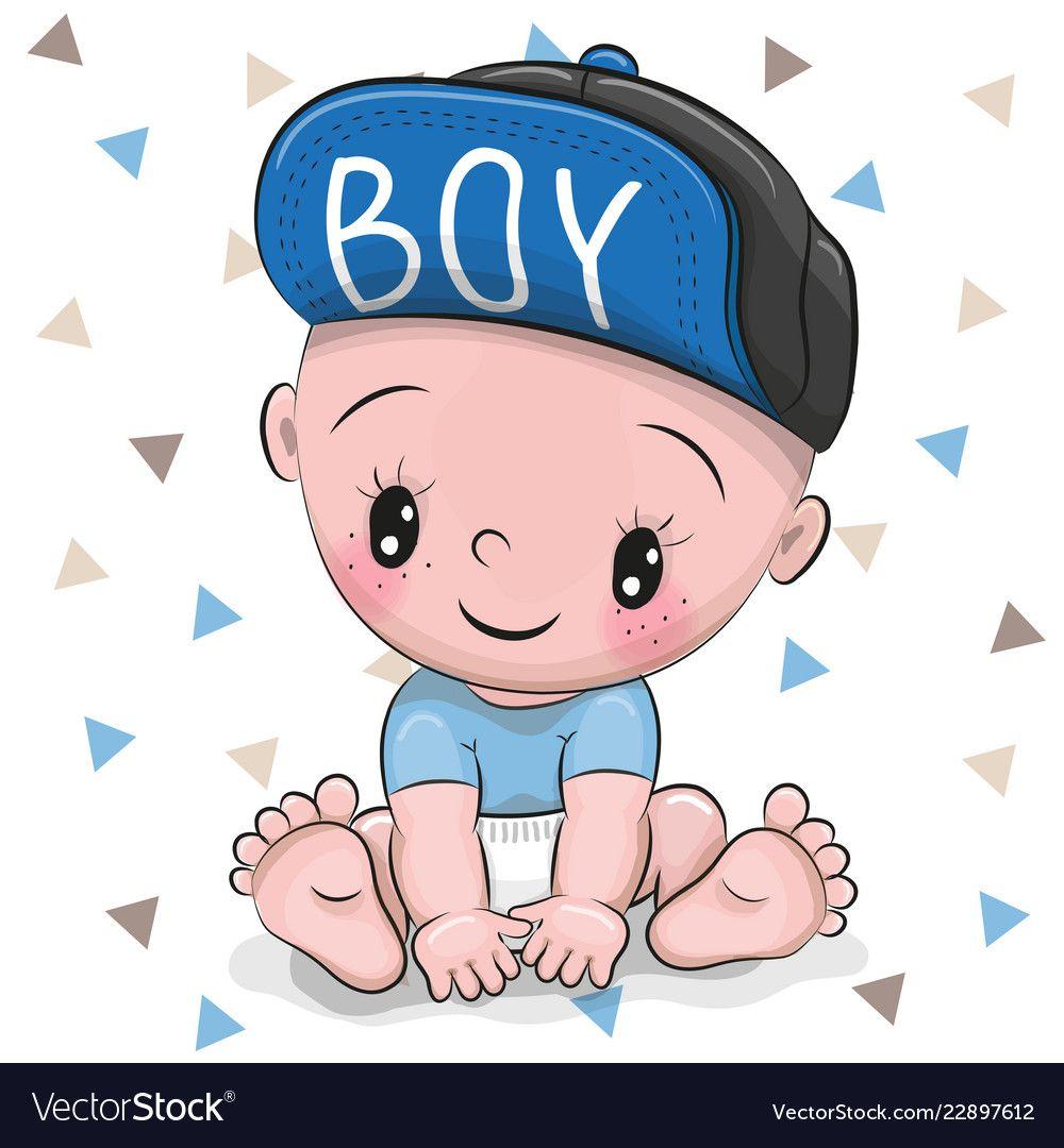 Cute Cartoon Baby Boy In A Cap Royalty Free Vector Image Boy Cartoon Drawing Baby Cartoon Baby Drawing