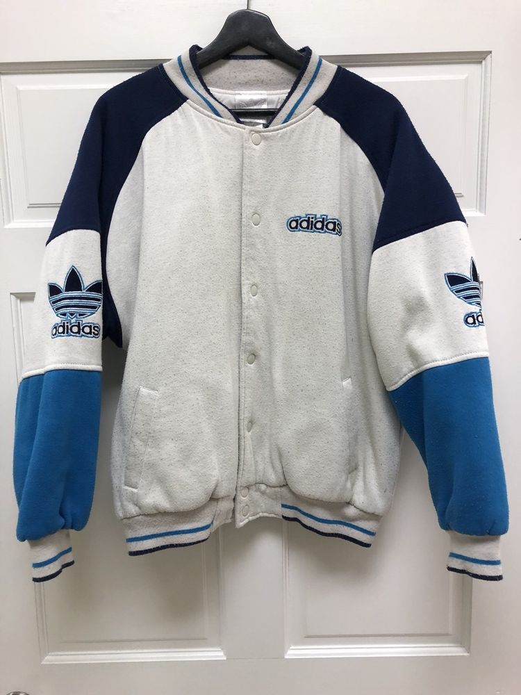 8e40e6da09b Vintage 80s Adidas Letterman Varsity Jacket White And Blue M Free Shipping