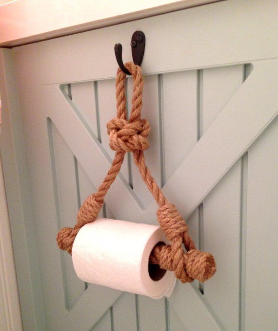 Photo of Toilet Paper Holder..Rope Toilet Roll Holder..Jute Rope Nautical Decor..for bathroom..Diamond Knot..Short version of the holder