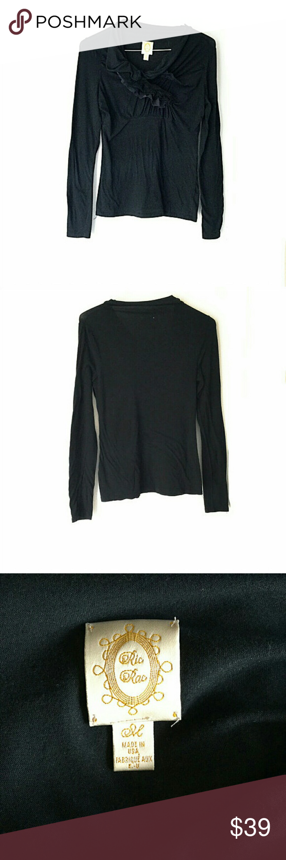 """Anthropologie """"Ric Tac"""" Ruffle Cowl Neck Top In good condition.  No signs of wear.  Size medium.  Approximate measurements:  Length 25.5"""".  Bust across 19"""".  Smoke and pet free home.  Ships within one business day. Anthropologie Tops Blouses"""