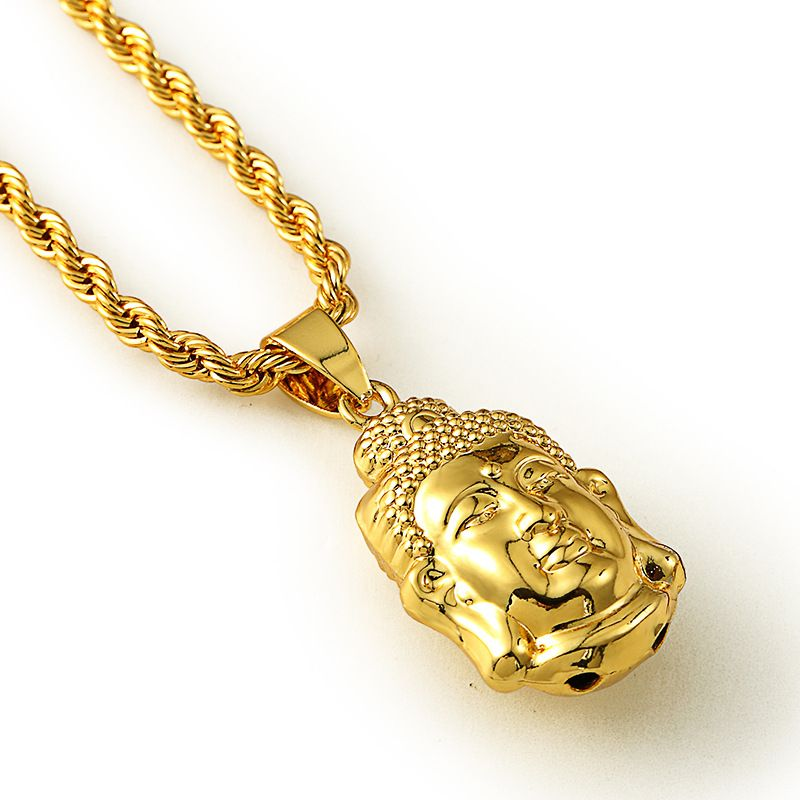 JFY GOLD BUDDHA NECKLACE Maxi Statement Necklaces Men Gold Chain