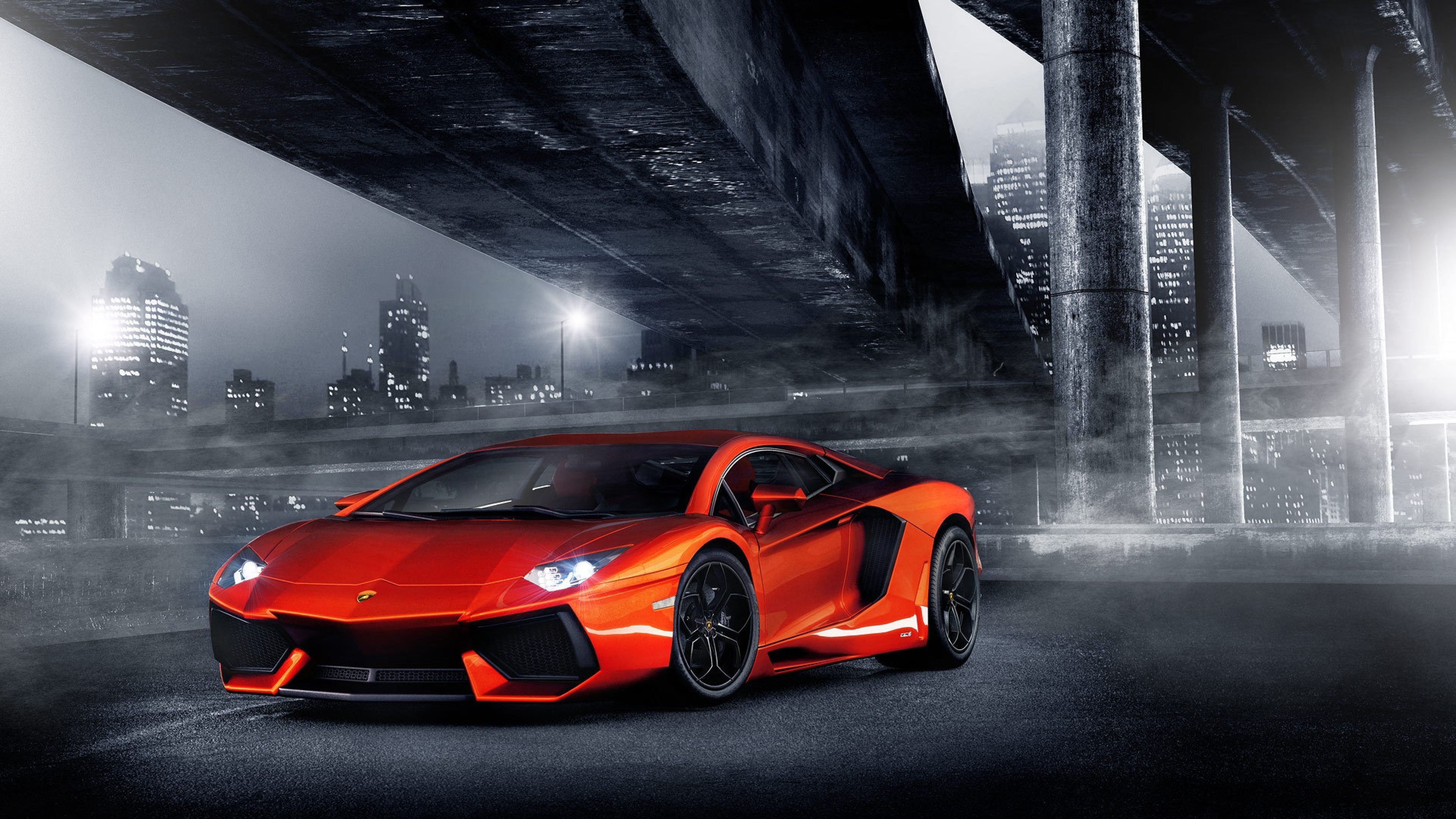 Lamborghini Aventador at Night HD desktop wallpaper Widescreen